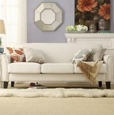 White Linen Sofa Modern Contemporary Chic Couch Seating Living Room NEW