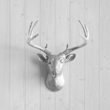 Wall Charmers Silver Mini Deer Faux Head Fake Animal Stag Antler Taxidermy Resin