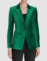 $950 Kobi Halperin Women's Green Clara Velvet One-Button Blazer Jacket Size XS