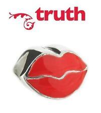 Genuine TRUTH PK 925 sterling silver & enamel lips charm bead, love & kisses