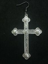 Large Metal Gothic Cross Earring  With Black Colour Hook And Drop