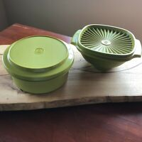 Tupperware Avacado green bowls  4 cup Servalier and 6 in seal and serve