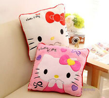 Cute 2pcs Pink&White Hello Kitty Soft Square Cushions Pillow Sofa Chair Cushions