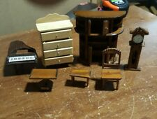vintage doll house miniatures furniture accessories clock piano table mirror