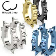316L Surgical Stainless Steel IP U Shaped Hoop Gold Earrings with Spikes pair