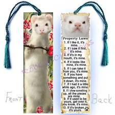 WHITE FERRET Large Book BOOKMARK w/ Tassel FUN Pet RULES Property Art Gift CARD