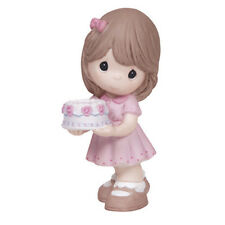 New Precious Moments Porcelain Birthday Cake Figurine Girl Statue Pink Topper