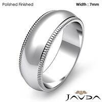 14k White Gold Women Ring Milgrain Edge Wedding Solid 7mm Band 7.6gm Sz 4 - 4.75