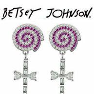 US Seller Betsey Johnson Pink Crystal Cross Lollipop dangle earrings jewelry