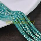 New 100pcs 4mm Cube Square Faceted Gold Foil Glass Loose Spacer Beads Lake Green