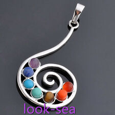 Fashion Music Spiral Reiki Chakra Resin Beads 7 Gemstone Pendant For Necklace