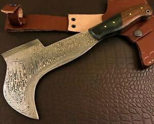 Handmade Damascus Steel Bill Hook Axe/ Hatchet-Functional-Leather Sheath-BHd86