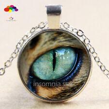 Vintage Cabochon Tibetan Silver Glass Leopard eye Chain Pendant Necklace zqd71