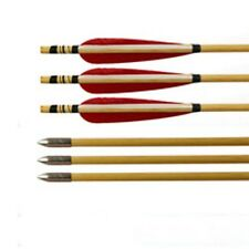 6 x Indonesian white tree arrows with turkey feathers fletching for recurve bow