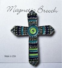 Magnetic Brooch Clip Clasp Pin Silver Tone Cross Greens Accessory Scarves Shawls