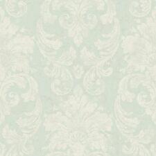Velvet Damask Satin White & Soft Blue Raised Textured Wallpaper by York  RG4904