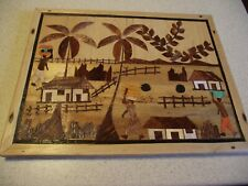 Vintage Marquetry Wood Straw Bamboo Hand-crafted Asian Folk Art Framed Pictures