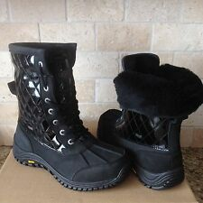 UGG Adirondack II Quilted Black Waterproof leather Snow Boots Size US 8 Womens