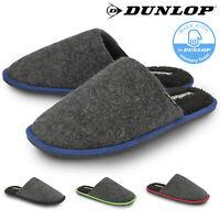 Dunlop Mens Slippers Slip On Mule Fur Lined Trendy Felt Memory Foam Sizes 7-12