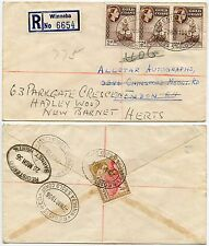 GOLD COAST SURFACE MAIL WINNEBA REGISTERED OVALS to CHINGFORD REDIRECTED BARNET