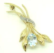 Diamond Brooch Flower & Leaves Design 2.85g Pretty 9ct Yellow Gold Blue Topaz &