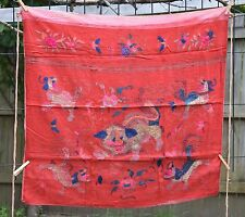 """Antique Chinese Hand Embroidered Fabric Textile Panel 34""""x 30"""""""