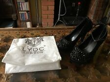 Gorgeous Worn Once LYDC London Bejewelled Black Heeled Shoes Size UK 6 EUR 39