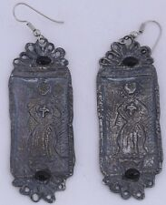 Old Sterling Silver & Black Onyx icons, earrings priest with cross Mexican?