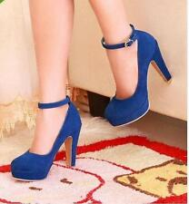 Hot Ladies Girls Party Shoes Faux Suede High Heels Platform Strappy Pumps Size 8