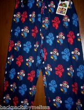 "Super Mario Lounge Pajamas Pants NeW Men's Medium 32""-34"" Navy BLUE Sleep Pjs"