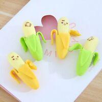 4pcs/set Banana Rubber Pencil Eraser Novelty Stationery Toy For Children Kids