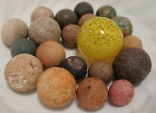 20 Vintage Marbles Handmade Clay Awesome Art Glass Yellow Guinea Shooter Nice