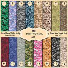 Digital Camouflage Printed Htv, Pattern Vinyl, Siser, Craft Vinyl- 691
