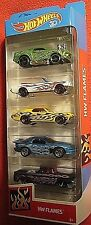 2018 Hot Wheels HW Flames 5 Pk,68 & 65 Mustang,69 Cougar,62 Chevy PU,98 Firebird