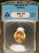 1961-D/D Lincoln Cent - RPM-035   ANACS MS65 RED