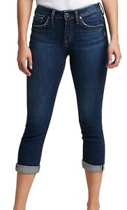 Silver Jeans Co. Womens Jeans Blue Size 29 Avery Capri Curvy Fit Stretch $74 476