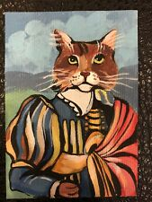 Aceo Original Painting Abyssinian Somali Cat