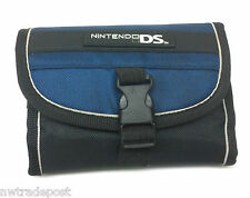 BDA Nintendo DS Folding Padded Case Wallet Tri-Fold with Mesh Pocket Blue Black
