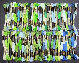 61x Needlepoint/Embroidery THREAD DMC Floss 6 ply cotton-blues/greens-PH73