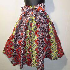 Skirt Fits L XL 1X 2X Plus Africa Wax Print Red Yellow Black NWT 16321 D
