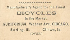 BICYCLES SOLD ** CLINTON, IOWA TRADE CARD, J L MAHAN PIANOS & ORGANS etc  TTC662