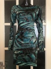High Rose Blue Shimmery Body Con Long Sleeve Dress Bnwot Size S/M 8