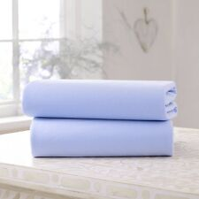 Super Soft Thick Cot Bed Fitted Sheet,100%Cotton,Size:70 x140cm (Pack of 2,Blue)