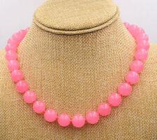 "Bead Gemstones Necklace 18"" 10mm Pink Chalcedony Round"