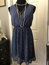 Pins and needles blue polka dot floral sheath Dress