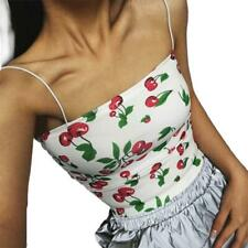 29eeade9b9142 Women Cherry Print Strap Fitted Crop Top Vest Camisole Shirts Wrapped Chest  Base