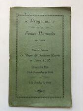 Programa Fiestas Patronales Virgen Del Rosario Yauco Puerto Rico 1949 Anuncios