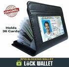 Fashion Lock RFID Wallet Slim Credit Cards holder Leather Secure Blocking Wallet