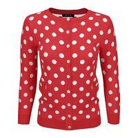YEMAK Women's Polka Dot Jacquard Crewneck Button Down Sweater Cardigan MK3104