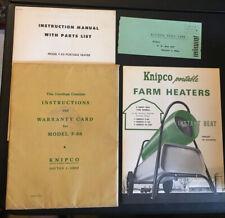 1964 KNIPCO PORTABLE FARM HEATERS INSTRUCTION PARTS MANUAL WAR. CARD DAYTON OHIO